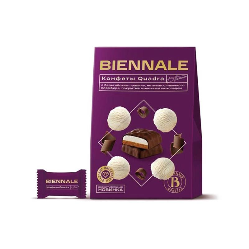 """Конфеты глазированные с комбинированными конфетными массами """"Biennale Quadra Plombire"""""""